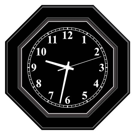 Octagon black wall clock. Home furniture.