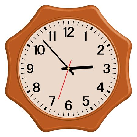 Wooden wall clock. Vintage style. Home furniture.