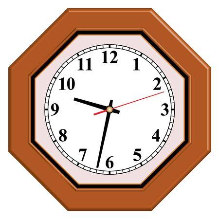 Octagon wooden wall clock. Home furniture.