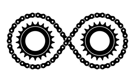 Sprocket wheel and roller chain. infinity symbol.