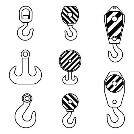 Crane hook. Hook block. Flat icons Illusztráció