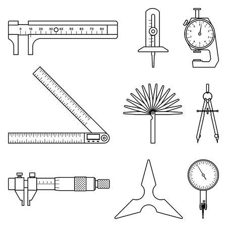 Set of measuring instrument. Flat icon.