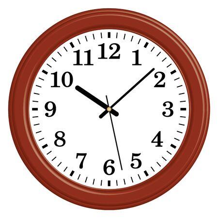 Circular wooden wall clock.