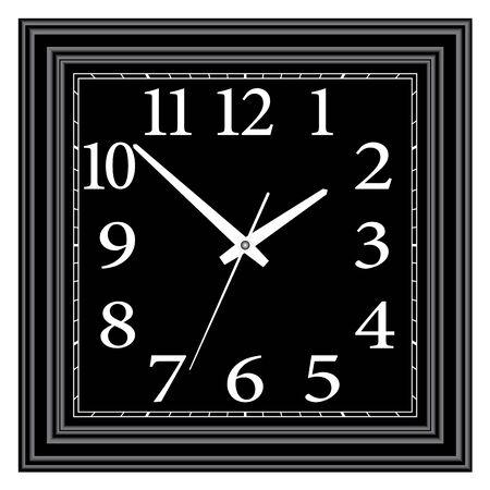 Square black wall clock. Home furniture. Illusztráció