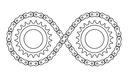 Sprocket wheel and roller chain. infinity symbol. Banco de Imagens - 128858695