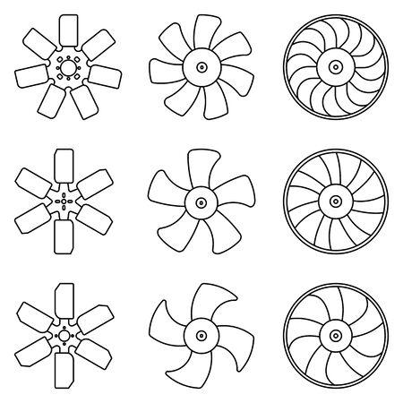 Fan blade. Car parts. Flat icons. Illusztráció