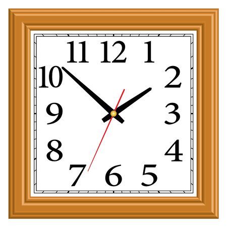 Square wooden wall clock. Home furniture.