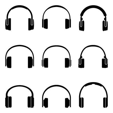 Headphone icons set. Audio accessories.