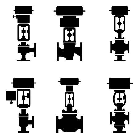Regulating valve. Pneumatic control valve. Silhouette icons Illusztráció