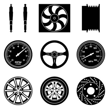 Set of car parts icons. Automobile parts. Illustration
