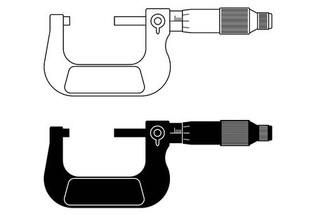 Outside micrometer. Flat icons.