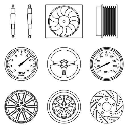 Set of car parts icons. Automobile parts. Illusztráció