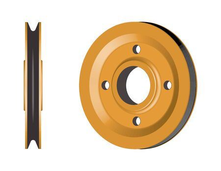 Pulley wheel. Machine parts. Banco de Imagens - 128858975