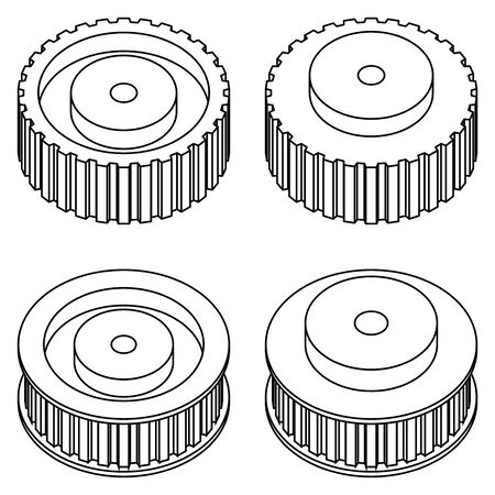Timing pulley. Machine parts. Vector illustration