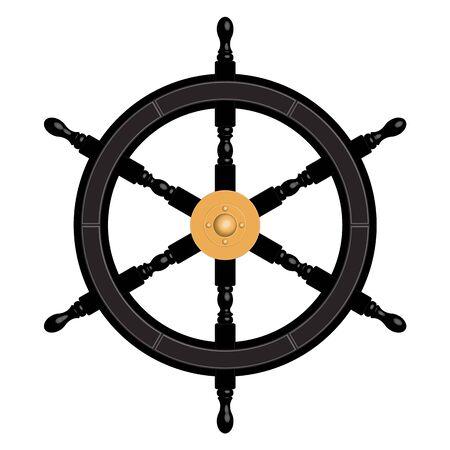 6 spoke black ship steering wheel. 3D effect vector