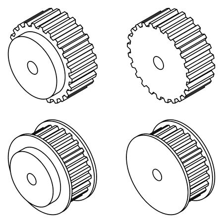 Timing pulley. Engine parts. Vector thin line