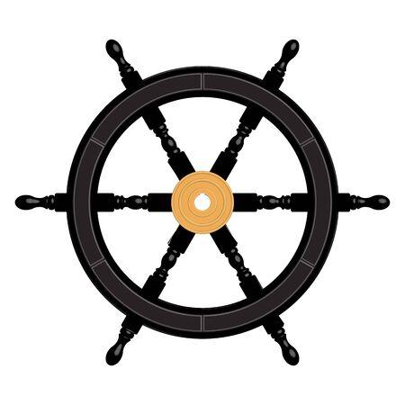 Black ship wheel. 6 spoke. Brass hub. 3D effect vector