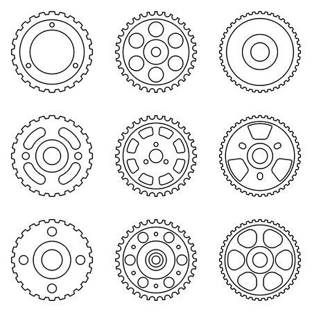Various types of timing pulley. Thin line icons Illusztráció