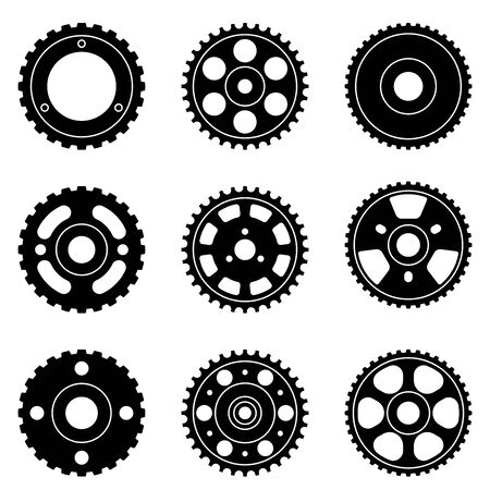 Various types of timing pulley. Silhouette icons
