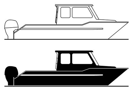 Power boat. Thin line and silhouette icons. Vector illustration