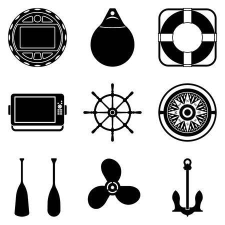 Boat accessories and equipment. Flat icons. Silhouette vector Illusztráció