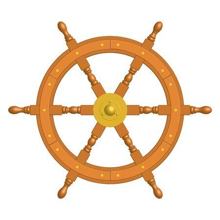 6 spoke wooden ship steering wheel. 3D effect vector