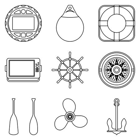 Boat accessories and equipment. Flat icons. Vector thin line