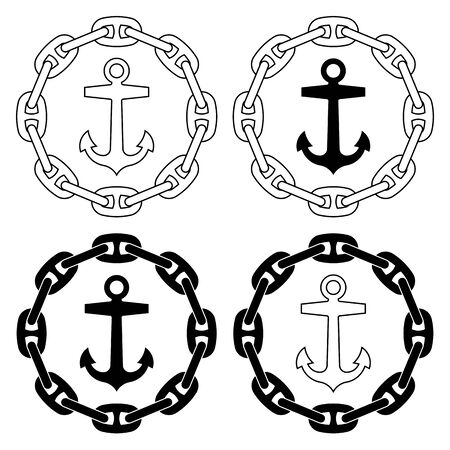 Boat anchor and chains. Flat icons. Vector illustration