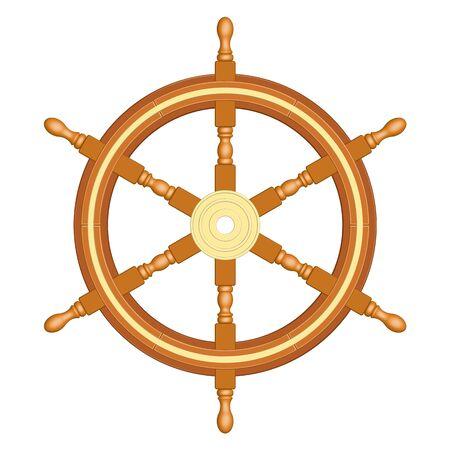 6 spoke wooden ship wheel. Vintage style. 3D effect vector