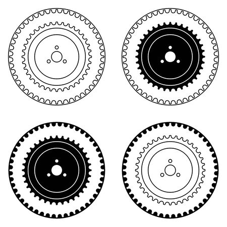 Timing pulley and belt. Flat icons. Vector illustration