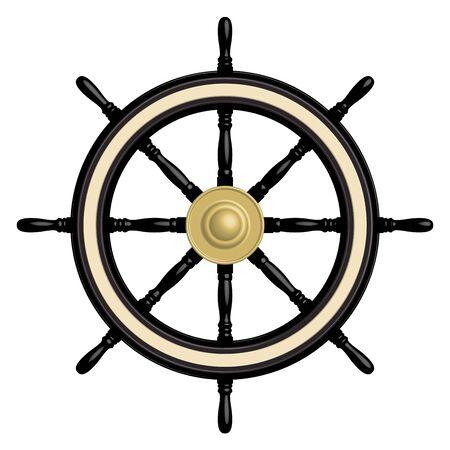 Schwarzes Schiffslenkrad mit 8 Speichen. 3D-Effektvektor Vektorgrafik