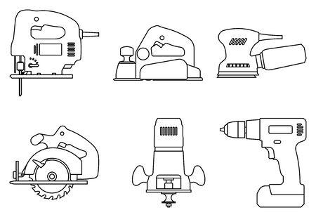 Set of power tools for woodworking. Thin line icons Illusztráció