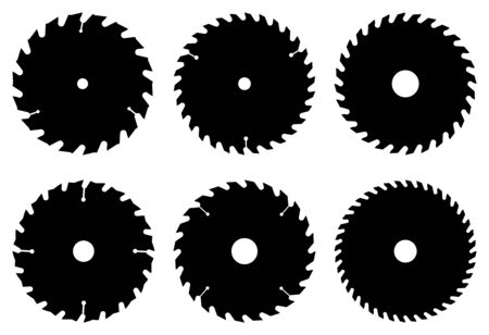 Cutting blade for power saw. Silhouette icons
