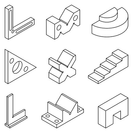 Standard block for calibration and inspection. Thin line icons