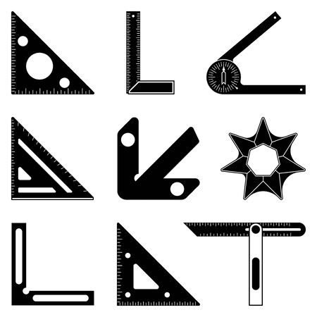 Set of measuring tools for woodworking. Silhouette icons