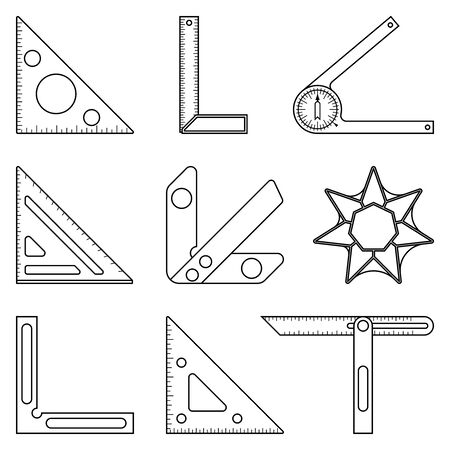 Set of measuring tools for woodworking. Thin line icons