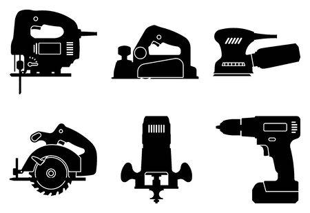Ensemble d'outils électriques pour le travail du bois. Icônes de silhouette