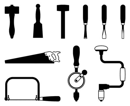 Set of hand tools for woodworking. Silhouette vector Illustration