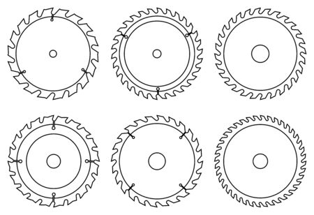 Cutting blade for power saw. Thin line icons Illustration
