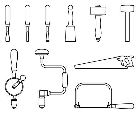 Set of hand tools for woodworking. Vector thin line Illusztráció