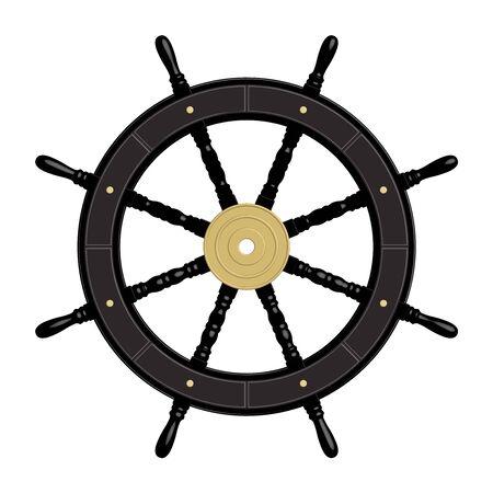 Black ship wheel. 8 spoke. Brass hub. 3D effect vector