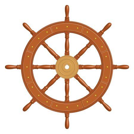 Roue de bateau en bois à 8 rayons. Style vintage.