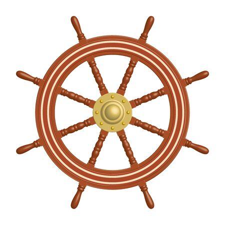 8 spoke wooden ship steering wheel. Illusztráció