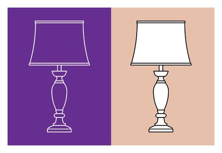 Table lamp. Traditional style. Flat icons. Vector illustration