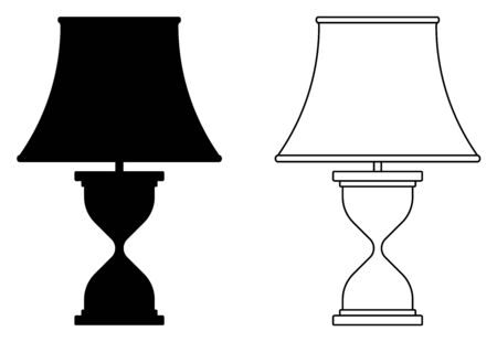 Table lamp icons. Room lighting. Silhouette and thin line vector