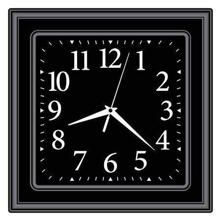 Black square wall clock. Classic style. 3D effect vector Illusztráció