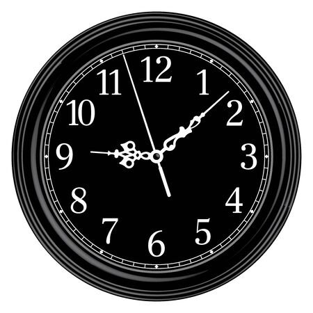 Black round wall clock. Classic style. 3D effect vector