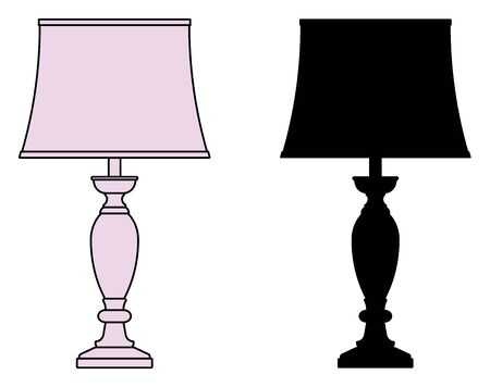Table lamp icons. Traditional style. Silhouette and thin vector