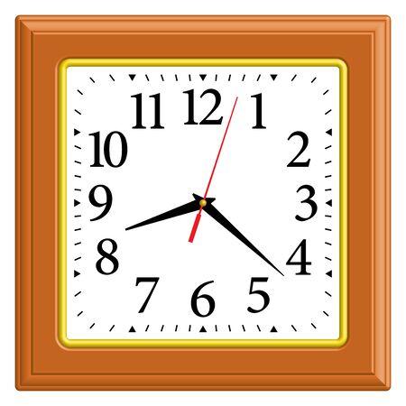 Square wall clock. Home decor. 3D effect. Vector illustration