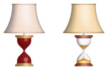 Table lamp. Hourglass body. 3D effect. Vector illustration Illusztráció
